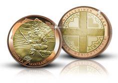 MM 1995 – kaksoiskullattu uutuuslyönti #torillatavataan #sinivalkoinensydän Mitalissa 24 karaatin kelta- ja punakultaus. Halkaisija peräti 45 mm! Monet, Coins, Personalized Items