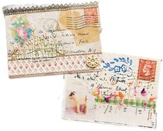 """""""Over the years, I have collected many and various pieces of vintage papers, tickets, labels, sewing patterns, etc. The muted, soft colors and textures are so pleasing, and I enjoy the history and the stories these little pieces of very worn and torn paper can tell."""" ~Mixed-media artist Viv Sliwka"""