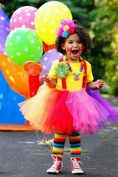 Clown tutu costume rainbow suspenders headband legwarmers necklace flower clip 18 months - ready to ship Diy Baby Costumes For Girls, Girl Costumes, Circus Party, Halloween Disfraces, Diy Halloween Costumes, Happy Colors, Beautiful Children, Rainbow Colors, Bright Colors