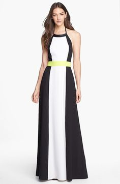 Vince Camuto Colorblock Halter Maxi Dress | Nordstrom