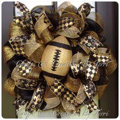New Orleans Saints Black & Gold Football by CreatedByTerri on Etsy, $80.00 Wreaths And Garlands, Deco Mesh Wreaths, Holiday Wreaths, Floral Wreaths, Ribbon Wreaths, Winter Wreaths, Spring Wreaths, Summer Wreath, Door Wreaths