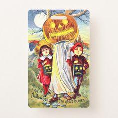 Falln Halloween Pumpkin Ghost Badge - Halloween happyhalloween festival party holiday