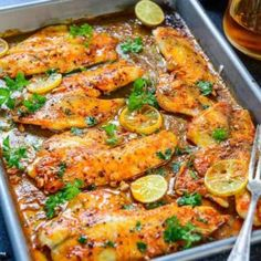 This easy Lemon Garlic Baked Tilapia takes all of 5 minutes of preparation time before you pop it in the oven. Pair it with fry vegetables and steamed rice for a hearty meal. Here it is step by step recipe of how to make Spicy Lemon Garlic Baked Tilapia. Oven Baked Tilapia, Baked Tilapia Recipes, Baked Fish, Fish Recipes, Seafood Recipes, Healthy Tilapia, Grilled Fish, Grilled Salmon, Dinner Recipes