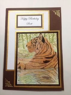 Tiger card, coloured with Tim Holtz distress markers