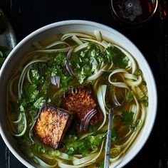 "Vegan ""Chicken"" Pho: How Pho Genius Andrea Nguyen Makes a Richer Vegan Broth (made with nutritional yeast) Tofu Recipes, Fall Recipes, Asian Recipes, Vegetarian Recipes, Cooking Recipes, Healthy Recipes, Ethnic Recipes, Vegetarian Diets, Cabbage Recipes"