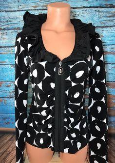 Joseph Ribkoff Women's Black White Circle Zip Top Sz 10 Shirt Ruffle Neck Blouse  | eBay