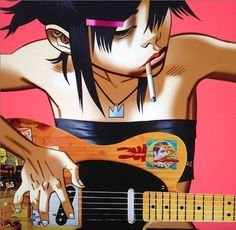 Noodle with her Telecaster.