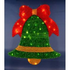 """40"""" Pre-Lit Soft Tinsel Green Jingle Bell with Red Bow Christmas Window Decoration"""