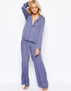 Image 4 ofASOS Moss Satin Piped Pyjama Top & Wide Leg Set