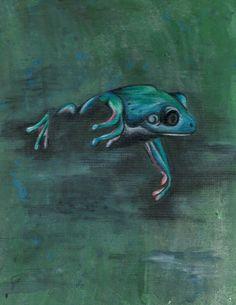 Swamp Frog  Frog  Pencil Crayon Digital by ShatteredVisAbility
