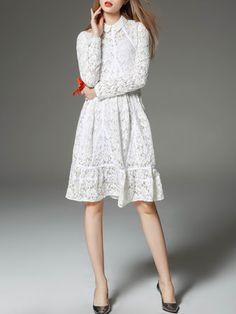 Crocheted Casual Long Sleeve V Neck Midi Dress