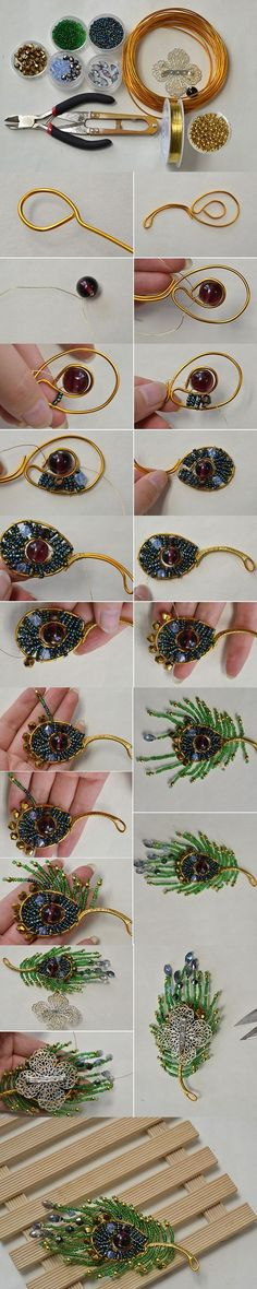 Tutorial on How to Make a Stylish Green Tassel Brooch at Home from LC.Pandahall.com #pandahall | Jewelry Making Tutorials & Tips 2 | Pinterest by Jersica