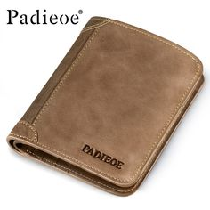 Padieoe Brand Top Cow Genuine Leather Wallets for Men Casual Male Wallets Vintage Organizer Purse Billfold Zipper Coin Pocket