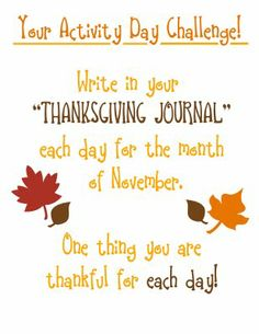 Thanksgiving Journal Challenge