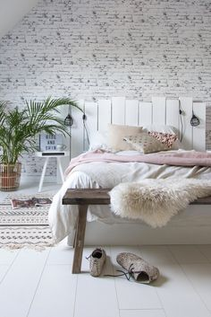 White bedroom with DIY headboard Eyebrow Makeup Tips