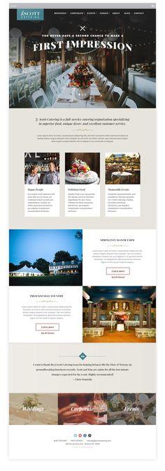 Responsive design mockups for a new catering website.