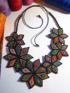 Multicolored Flower Macrame Necklace