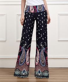 Look what I found on #zulily! Navy & Fuchsia Paisley High-Waist Palazzo Pants by Reborn Collection #zulilyfinds