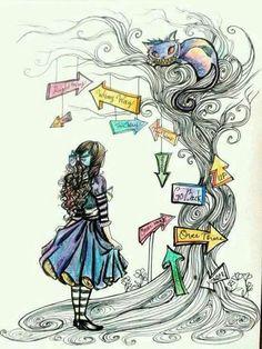 Alice& Adventures in Wonderland - Alice im Wunderland - Alice In Wonderland Drawings, Alice And Wonderland Quotes, Adventures In Wonderland, Wonderland Party, Art Disney, Disney Kunst, Disney Ideas, Disney Drawings, Art Drawings