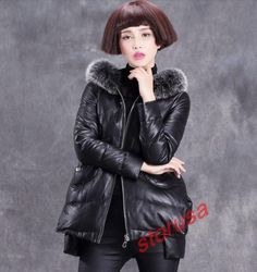 Womens Real Sheep Leather A line Peacoat Fox Fur Collar Cloak Jacket Down Coats | eBay
