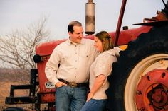 This is a good picture of you two.  Love the tractor added to it.