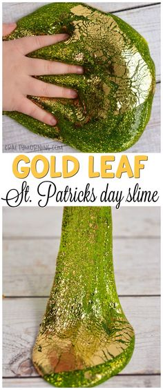 Patrick's Day Gold Leaf Slime - Crafty Morning- Make this gorgeous gold leaf St. Patrick's Day s Crafts For Seniors, Crafts For Teens, Diy For Kids, Kids Crafts, St Patricks Day Quotes, St. Patricks Day, St Patricks Day Crafts For Kids, St Patrick's Day Crafts, Reggio