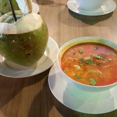 Tom yam soup with glass noodles and coconut water. I'm so going back to Thailand for this again. Tom Yam Soup, Asian Soup, Yams, Coconut Water, Noodles, Soups, Thailand, Beautiful Places, Ethnic Recipes