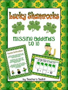 Here's a St. Patrick's day themed activity on missing addends to ten.