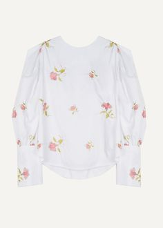 """Round Neck, Puff Shoulder Top w/Balloon Sleeves & Long Narrow Cuffs Floral Embroidery Detail & Button Back Fastening 100% Cotton 22"""" Length, 12.5"""" Shoulder, 34"""" Bust Dry Clean Imported"""