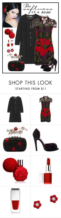"""Anna Sui Roses And Vases Lace Dress Look"" by romaboots-1 ❤ liked on Polyvore featuring Dolce&Gabbana, Oscar de la Renta, Alexander McQueen, Clinique, Givenchy and Aaron Basha"
