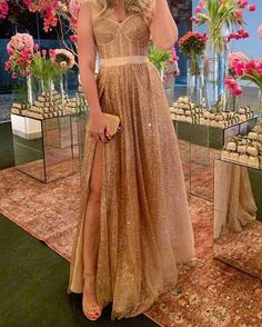 Sweetheart high slit sequins long prom dresses evening gown UH413