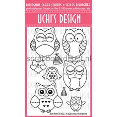 Uchi's Design Bilingual Owls Clear Stamps 4x6inch