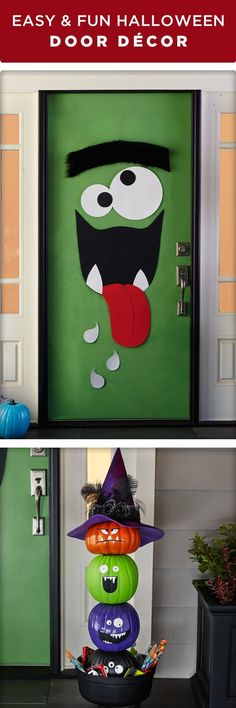 Welcome Halloween With Fun DIY Front Door Decorations . Awesome Garage Door Decorating Ideas For Halloween . Home Design Ideas Deco Porte Halloween, Deco Haloween, Art Halloween, Holidays Halloween, Happy Halloween, Halloween Projects, School Door Decorations, Halloween Door Decorations, Monster Door Decoration