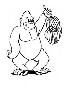Gorilla Coloring Page Reading club Kindergarten and Activities