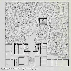 Quickborner's plan for Osram's Munich office, 1965