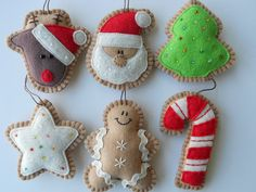 Ginger Felt Christmas Ornaments Felt by GingerSweetCrafts - I've made felt ornaments for years using felt, sequins, and embroidery. Felt Christmas Decorations, Felt Christmas Ornaments, Christmas Fun, Christmas Cookies, Gingerbread Ornaments, Diy Ornaments, Christmas Projects, Felt Crafts, Holiday Crafts