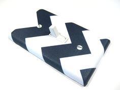 Navy Blue Chevron Light Switchplate Cover White by ModernSwitch, $6.00