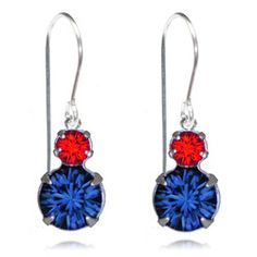 Navy & Red Two Tier Drop Earrings - $19.80