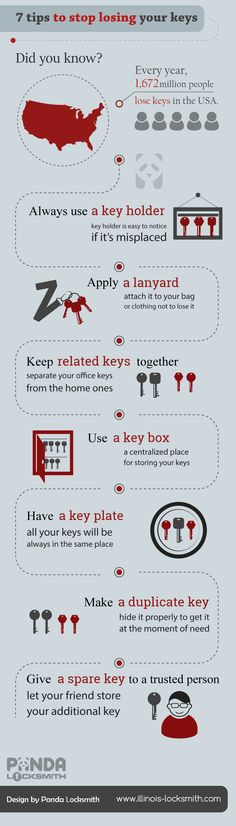 Did you know?  Every year, 1,672 million people lose keys in the USA? 7 tips how to stop losing your keys by Panda Locksmith!  http://www.illinois-locksmith.com/locksmith-infographics/7-tips-to-stop-losing-your-keys/