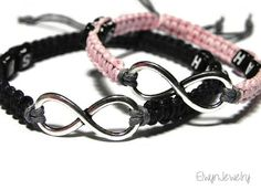 Personalized Infinity Bracelets - Matching Couple Bracelets by ElwynJewelry Infinity Bracelets, Men Bracelets, Friendship Bracelets, Matching Couple Bracelets, Matching Couples, Infinity Charm, Couple Jewelry, Crafts For Boys, Bracelet Making
