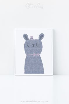 Printable rabbit print by Otto and Pixels Design on Etsy