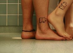 Puzzle Matching Tattoos - 70+ Lovely Matching Tattoos  <3 <3