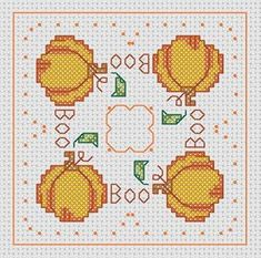 Biscornu ~ The start of the Halloween cross stitch projects... no color chart available, just use the pattern chart as your color guide.. or choose your own colors...