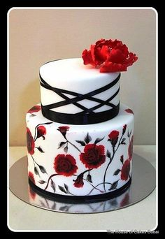 Hand painted cake with flowers  by House of Cakes Dubai