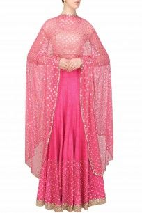 Hot pink sequins embroidered lehenga and off white blouse set