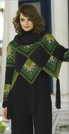 """Photo from the album """"Patchwork Poncho Cape"""" on - . : Photo from the album """"Patchwork Poncho Cape"""" on – Cardigan Au Crochet, Crochet Poncho Patterns, Knitted Poncho, Crochet Cardigan, Knitted Shawls, Crochet Scarves, Crochet Shawl, Crochet Clothes, Poncho Cape"""