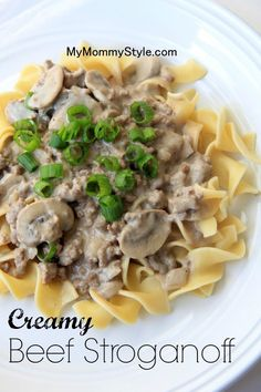 A hearty beef stroganoff with homemade sauce.
