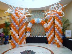 Boca Raton Florida medical center balloon columns and Balloon arch Balloon Release, Balloon Drop, Boca Raton Florida, Balloon Columns, Medical Center, Flower Centerpieces, Grand Opening, Event Decor, Wedding Designs