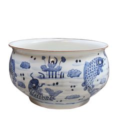 Blue & White Fish Motif Orchid Bowl , Ceramic - LOA, The Pink Pagoda