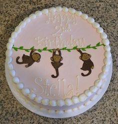 Girl's Pink Monkey Birthday Cake